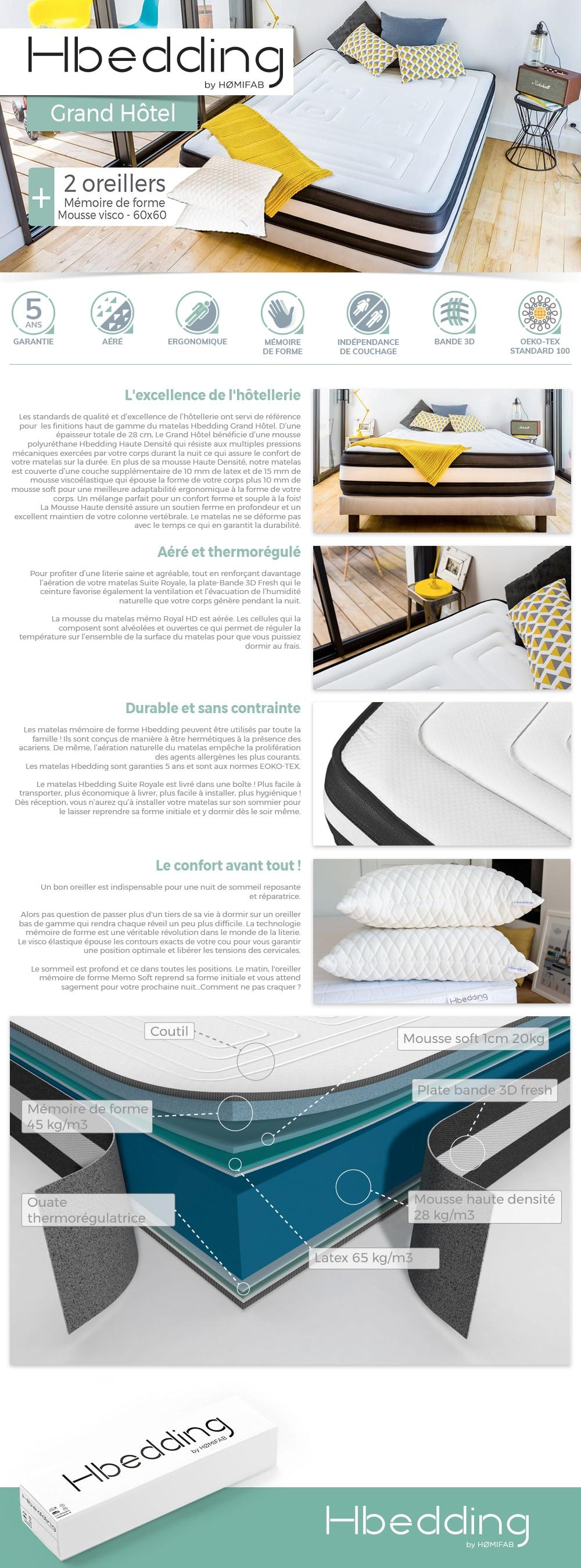 matelas m moire de forme 140x190 grand hotel hbedding 2 oreillers m moire de forme 60x60cm. Black Bedroom Furniture Sets. Home Design Ideas