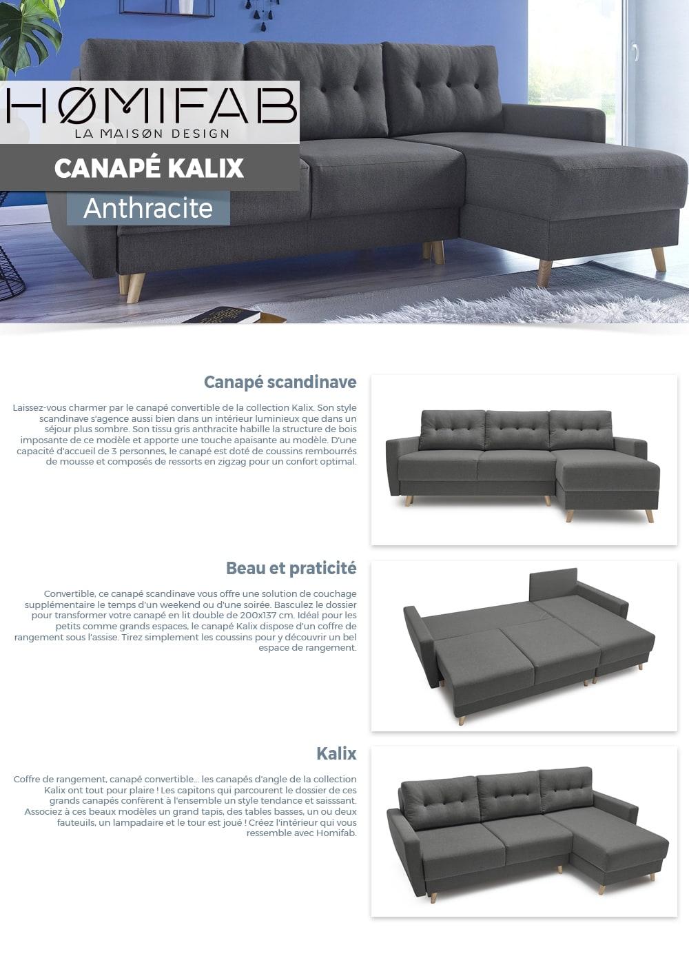 Ressort Zig Zag Canapé Avis canapé d'angle convertible en tissu gris anthracite kalix - avec couchage  140x200 cm, coffre de rangement, angle réversible.