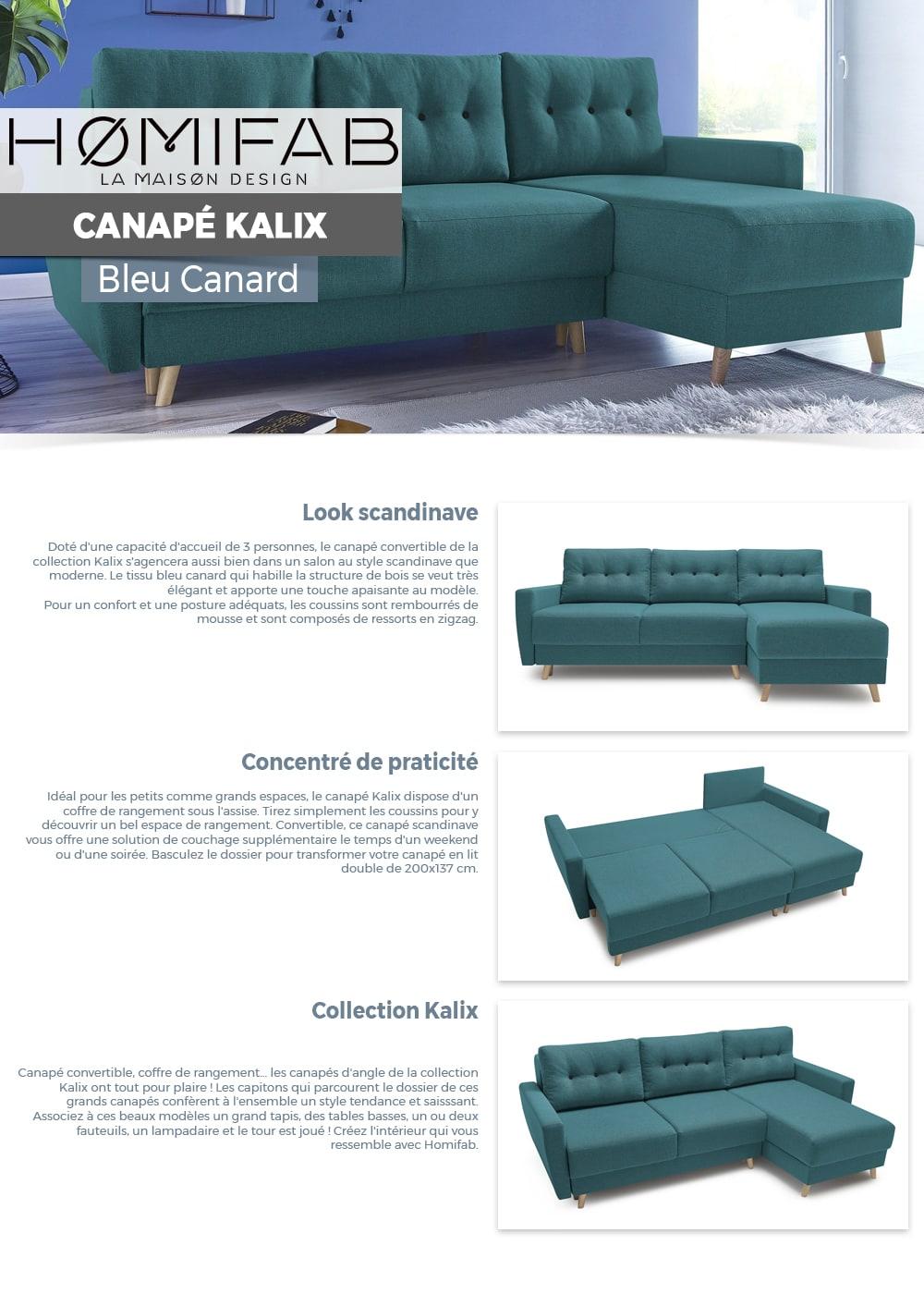 super populaire 77a8d f2688 Canapé d'angle convertible scandinave en tissu bleu canard kalix - avec  couchage 140x200 cm, coffre de rangement, tissu premium.