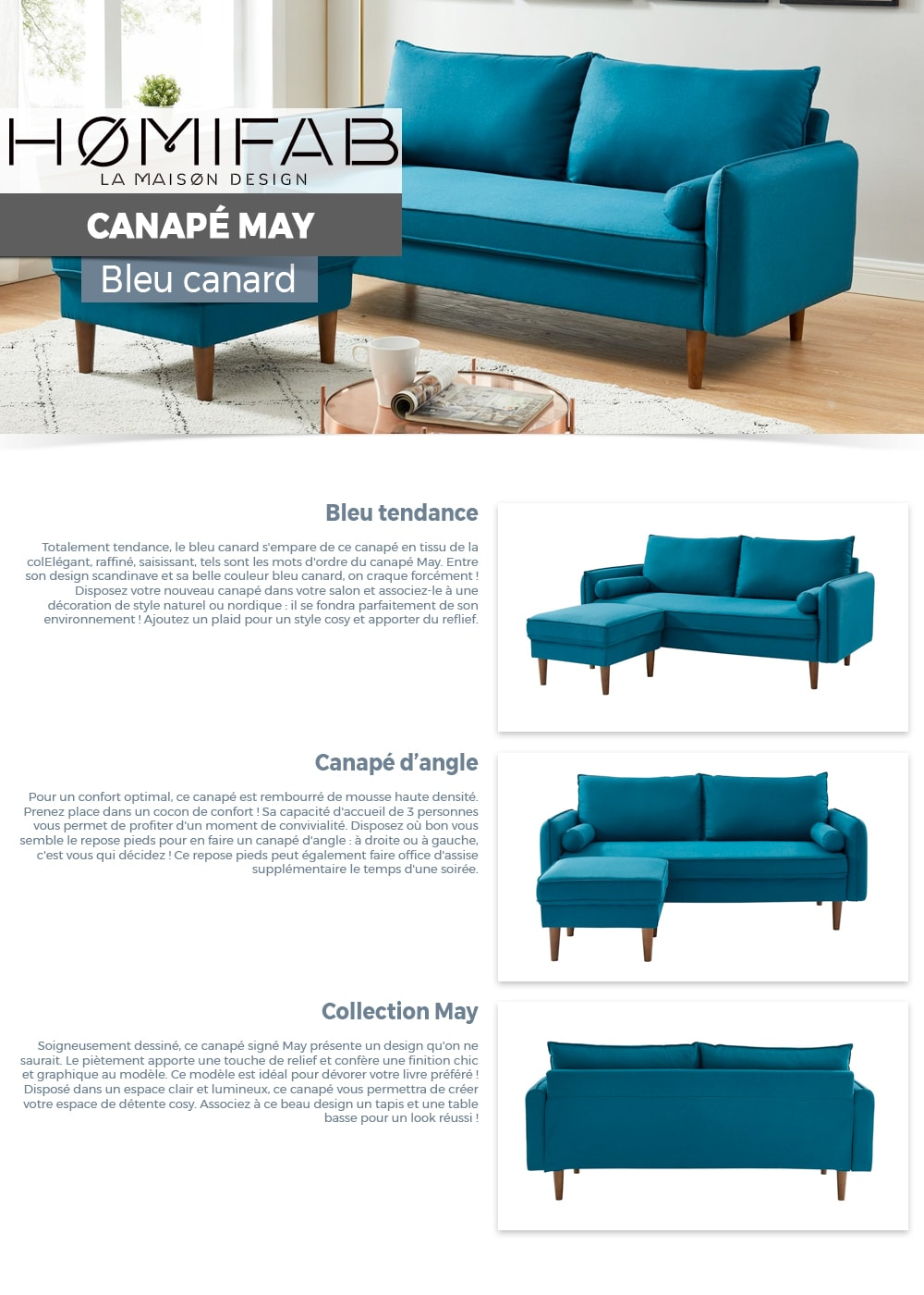 canap d 39 angle modulable 3 places en tissu bleu canard. Black Bedroom Furniture Sets. Home Design Ideas